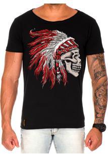 Camiseta Lucas Lunny T Shirt Gola Canoa Estampada Caveira Cocar Vermelho Preto
