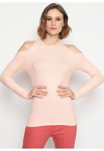 Blusa Em Tricô- Rosa Clarosusan Zheng