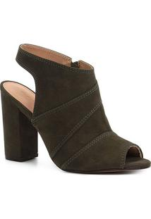 Ankle Boot Shoestock Meia Pata Nobuck Feminina - Feminino-Musgo