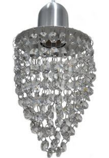 Pendente De Cristal No Modelo Fechado Com 154 Pedras De Cristal Em Aluminio Escovado