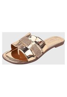 Sandália Rasteira Metalizada Ouro Light Elegance Calçados Ref:R040