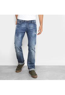 Calça Jeans Reta Diesel Estonada Masculina - Masculino-Jeans