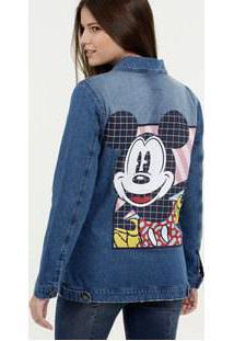 Jaqueta Feminina Jeans Estampa Mickey Disney
