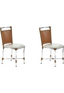 Conjunto Com 2 Cadeiras Sofia Marrom Claro