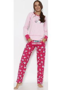Pijama Unicórnio Em Moletom- Rosa Claro & Rosa Escuro