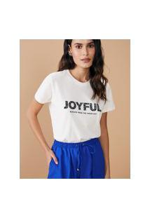 Amaro Feminino T-Shirt Regular Joyful Inside Out, Off-White