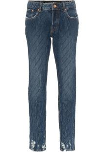 Filles A Papa Calça Jeans Slim Com Aplicações - Azul