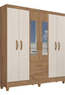 Guarda Roupa Real 6 Portas C/ Espelho Canelatto Rústico/Natura Off White Atualle Móveis