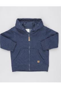 Blusão Infantil Com Bolso E Capuz Em Moletom Azul Marinho