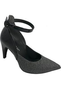 Sapato Bico Fino Piccadilly Conforto Gliter Feminino - Feminino-Preto