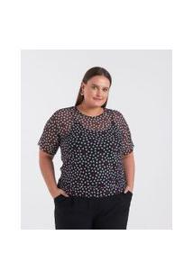 Blusa Estampa Corações Em Tule Curve & Plus Size | Ashua Curve E Plus Size | Preto | Gg
