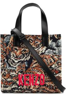 Kenzo Bolsa Tote Jungle Flying Tiger De Jacquard - Preto
