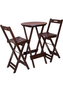 Conjunto Dobravel Bistrô Com 2 Cadeiras Imbuia - Btb Móveis
