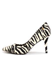 Scarpin Couro Salto Alto Fino Bico Fino Zebra Pb