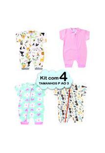 4 Macacáo Bebê Menina Veráo P Ao 3 Enxoval Recém Nascido Multicolorido