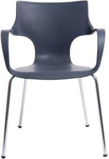 Cadeira Jim Base Fixa Cromada Cor Cinza - 10314 - Sun House