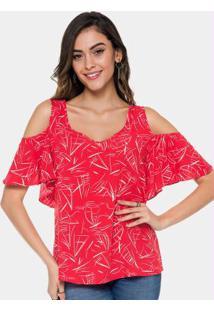 Blusa Com Mangas Lunender Vermelho