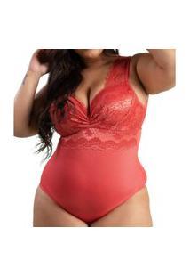 Body Plu Size Em Renda Tule Com Decote Drapeado Thais Ferreira Ref:499498