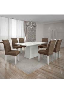 Conjunto De Mesa Com 6 Cadeiras Pampulha I Linho Branco E Marrom