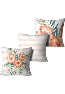 Kit 3 Capas Para Almofadas Decorativas Love Decor Floral Paradise Multicolorido Branco - Kanui