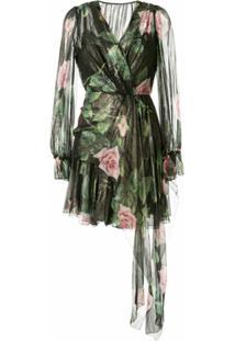 Dolce & Gabbana Vestido Preto De Chiffon Com Estampa De Rosas