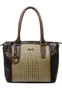 Bolsa De Couro Recuo Fashion Bag Tote Bege/Café