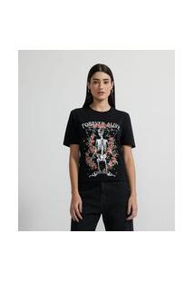 Blusa T-Shirt Com Estampa De Esqueleto Com Flores E Escrita Forever Alive