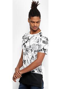 Camiseta Local Alongada Floral Caveira Masculina - Masculino-Branco