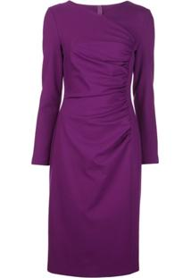 Escada Fitted Ruched-Detail Dress - Roxo