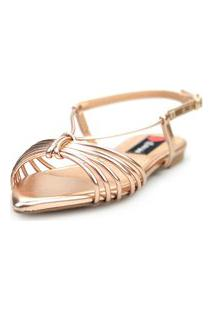 Sandalia Love Shoes Salomé Rasteira Bico Folha Tirinhas Metalizadas Rose