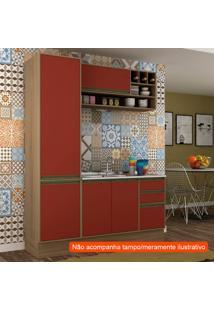 Cozinha Compacta Safira 5 Pt 3 Gv Vermelha E Avelã