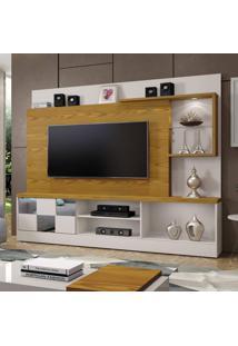 Estante Home Theater Para Tv Até 65 Polegadas Dinamarca Espelho Plus Mavaular Off White/Carvalho Ouro