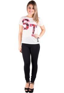 T-Shirt Salto Triplo Sublimada Com Detonação Off White - Feminino-Bege