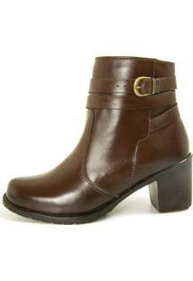 Bota Cano Curto Over Boots Isabela Couro Marrom - Kanui