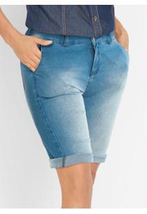Bermuda Jeans Skinny Azul Médio