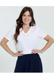 a0fcf893e Marisa. Blusa Feminina Decote V Crochê Manga Curta Marisa