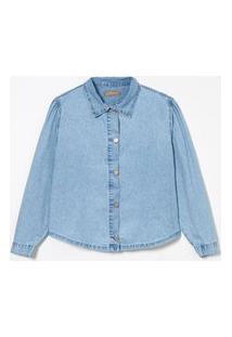 Camisa Jeans Com Mangas Bufante Curve & Plus Size | Ashua Curve E Plus Size | Azul | G