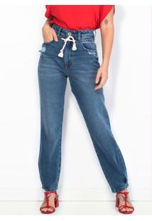Calça Mom Jeans Com Cordão Azul