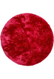 Tapete Saturs Shaggy Pelo Alto Vermelho Redondo 110 Cm Tapete Para Sala E Quarto