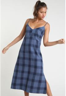 Vestido Feminino Mindset Midi Estampado Xadrez Com Fendas Alça Fina Azul Marinho