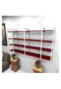 Estante Estilo Industrial Sala Aço Cor Branco 180X30X98Cm Cxlxa Cor Mdf Vermelho Modelo Ind57Vrsl
