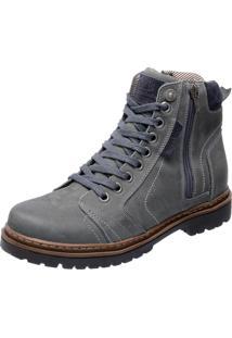 Bota Coturno Em Couro Mega Boots 6015 Cinza
