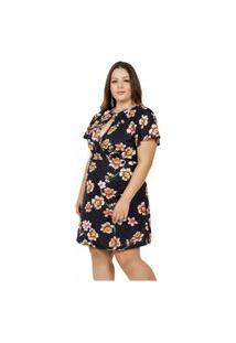 Vestido Marguerite Plus Size Curto Floral Preto