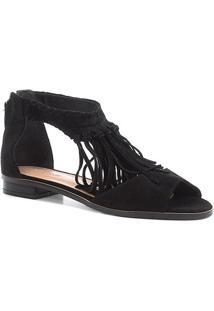 Rasteira Couro Shoestock Franjas - Feminino-Preto