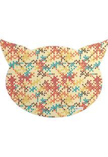 Tapete Pet Mdecore Cabeça De Gato Abstrato Bege 54X39Cm