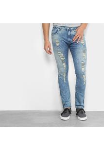 Calça Jeans Preston Skinny Marmorizada Puídos Masculina - Masculino-Jeans