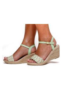 Sandália Anabela Plataforma Sb Shoes Ref.1227 Verde Claro