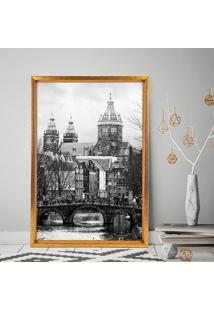Quadro Love Decor Com Moldura Chanfrada Igreja Antiga Dourado - Grande