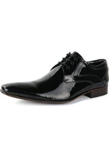 Sapato Social Sapatofran Em Couro Envernizado Masculino - Masculino-Preto