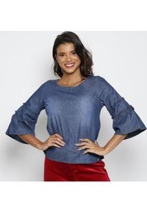 Blusa Jeans Com Franzidos- Azul Escuro- Thiptonthipton